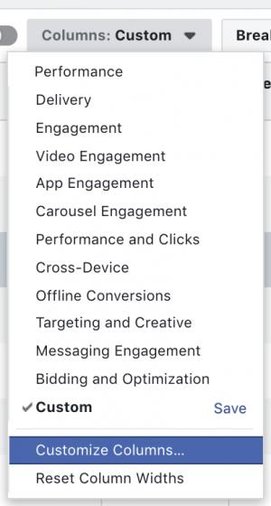 Facebook Ads Customize Columns