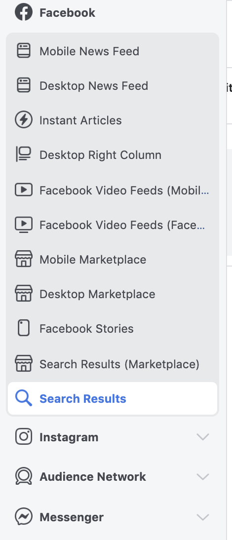 Facebook Search Placement