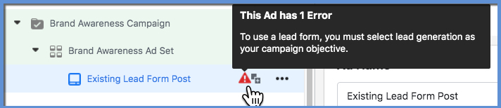 Lead Form Error Message - Brand Awareness