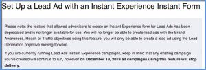 Facebook Lead Form with Instant Experience Deprecation Message