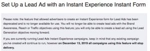 Lead Form Instant Experience Deprecation Message