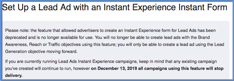 Lead Forms Instant Experience Deprecation