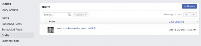 Facebook Post Saved Draft
