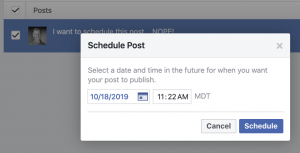 Schedule Facebook Page Post Problem