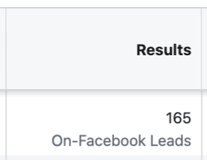 Facebook Lead Ads Results