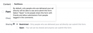 Facebook Lead Ad Form Settings