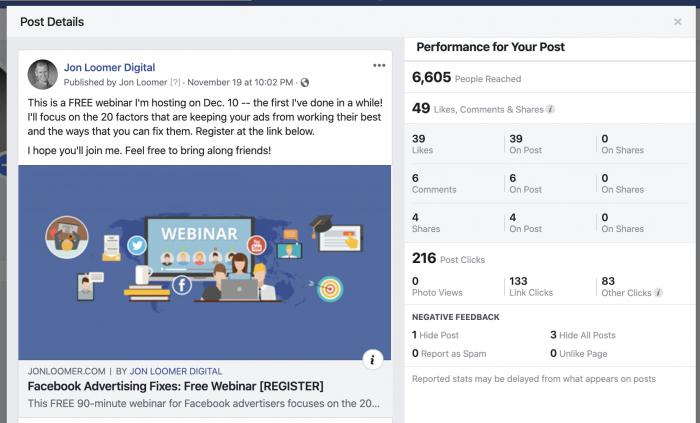 Facebook Organic Post Metrics
