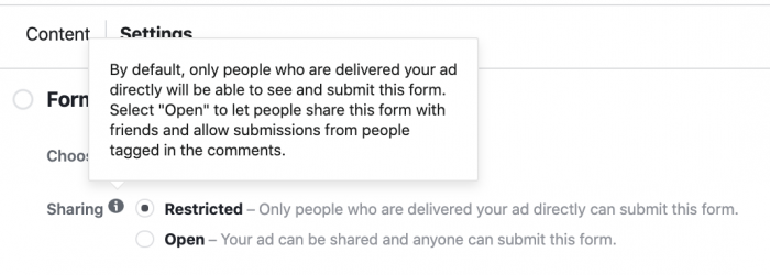 Facebook Lead Ad Form Settings