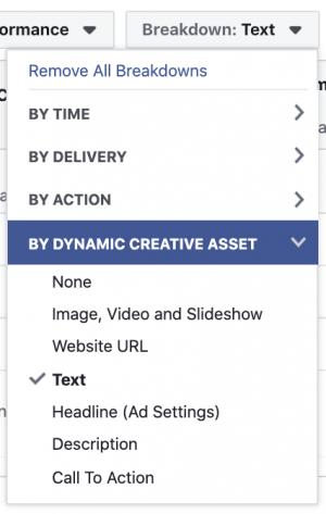 Facebook Ads Breakdown by Creative Asset