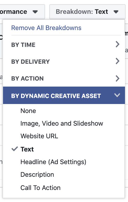 Facebook Ads Breakdown by Creative Asset