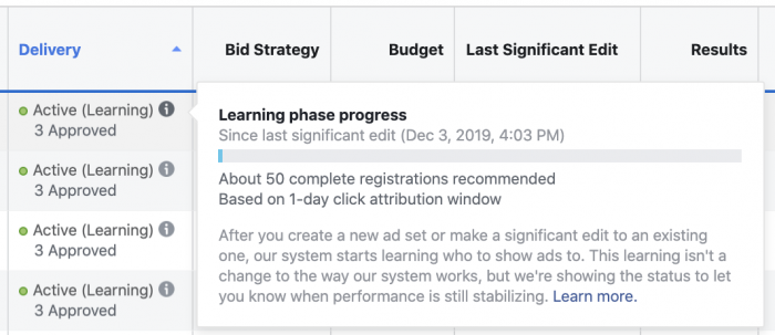 Facebook Ads Learning Phase