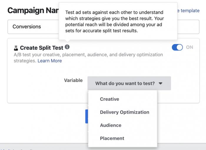 Facebook Ads Split Test