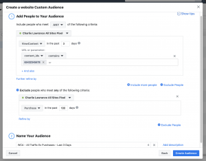 website custom audience content IDs
