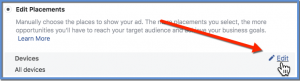 Edit Devices - Facebook Ads Manager