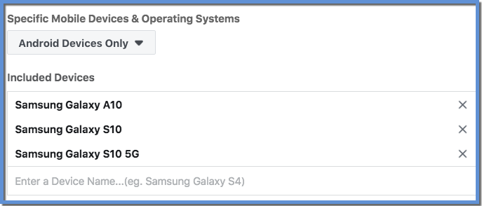Targeting Specific Devices on Facebook - Samsung Multiple Devices Example