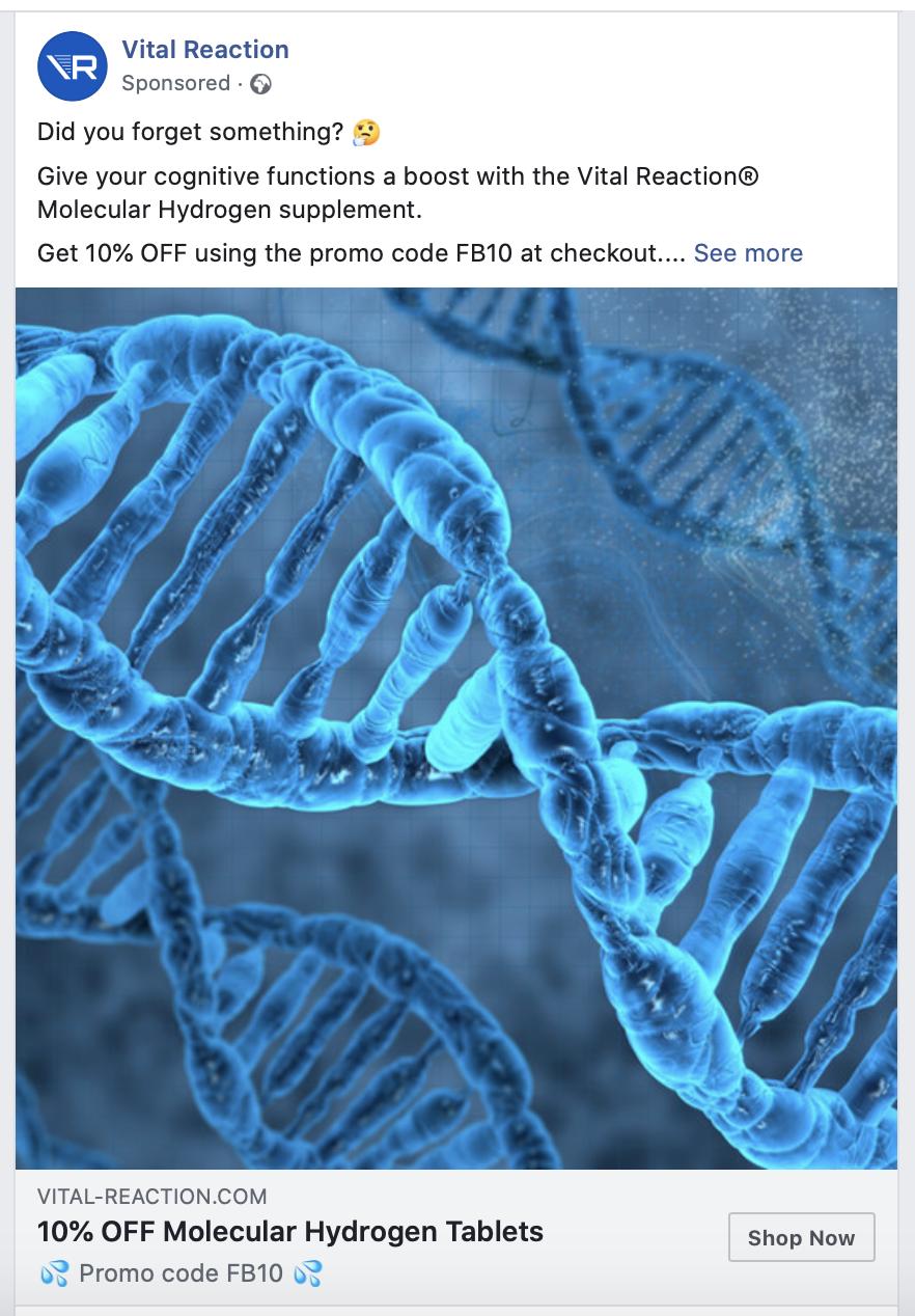 Vital Ad Example website remarketing