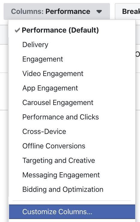 Facebook Ads Customize Columns