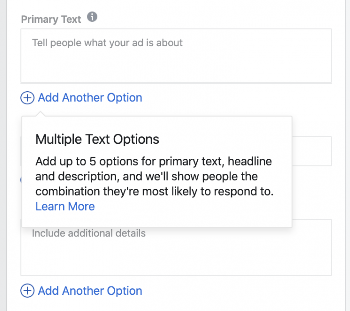 Facebook Ads Multiple Text Options