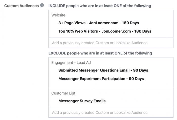 Facebook Messenger Ad Survey Targeting