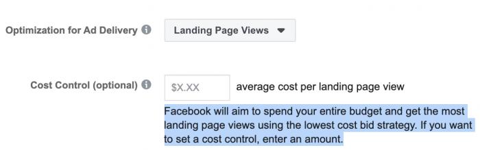 Optimize Facebook landing page views