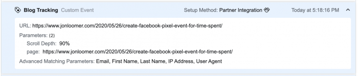 The depth of the Facebook Pixel event
