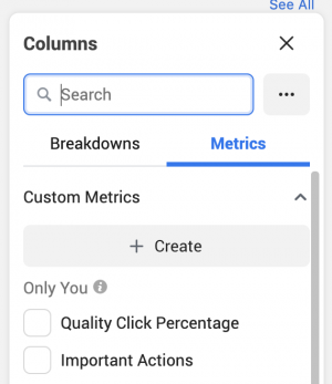 Facebook Ads Manager Custom Metrics