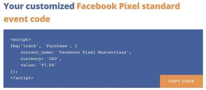 Facebook Pixel Event Generator