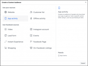 Facebook App Activity Custom Audience