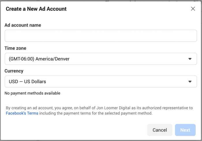 Facebook Ad Account Creation Limit