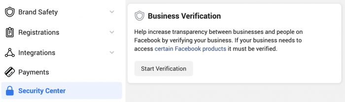Facebook Business Verification