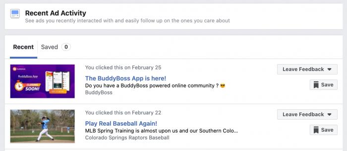 Facebook Recent Ad Activity