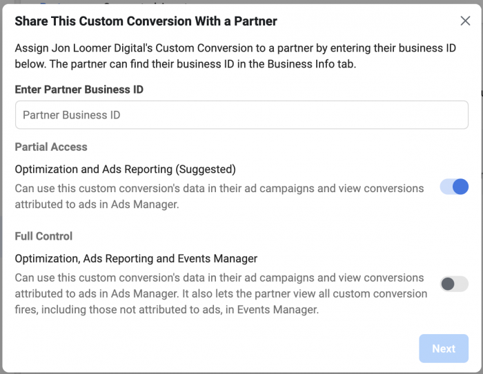 Custom Conversion Assign Partners