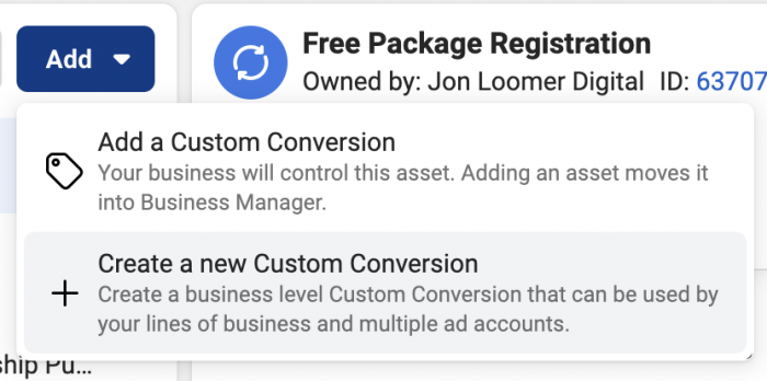 Add or Create Custom Conversion