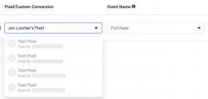 Facebook Pixel Event Configuration
