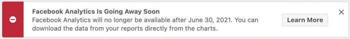 Facebook Analytics Going Away