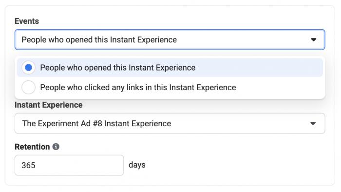 Facebook Instant Experience Custom Audience