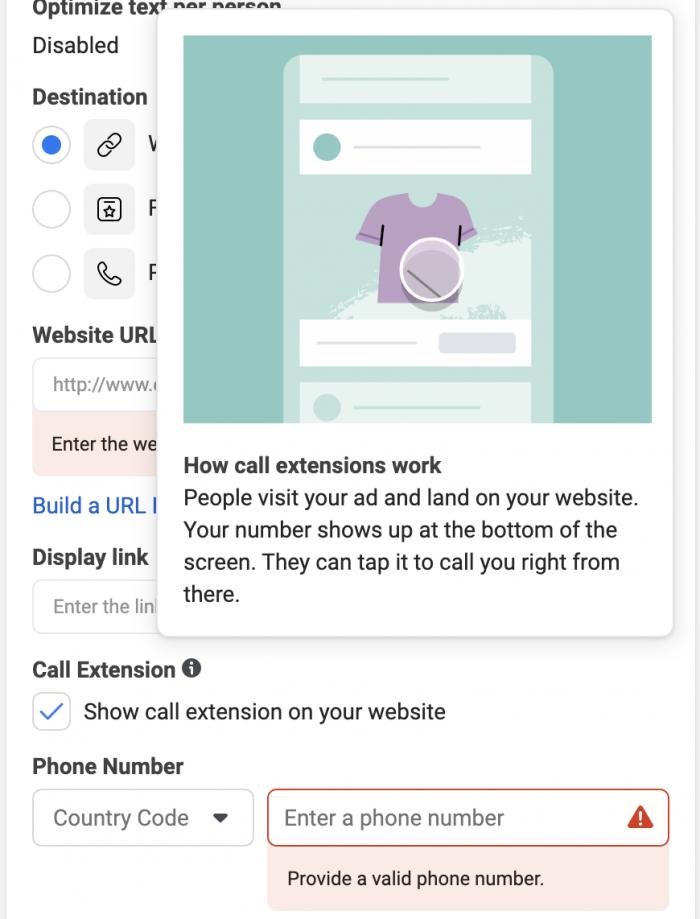 Call Extension Facebook Ad