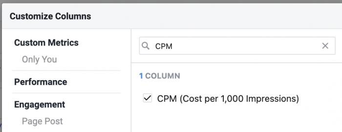 Facebook Customize Columns CPM