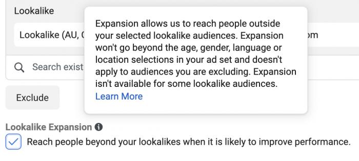 Facebook Lookalike Expansion
