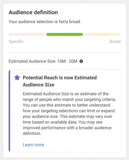 Facebook Estimated Audience Size